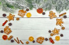 Lovely New Year`s decor. Christmas background,Snow-covered tree Royalty Free Stock Images