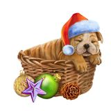 Lovely New Year`s puppy sleeps in a santa hat Stock Photo