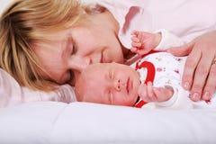 Lovely newborn sleeping stock image