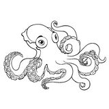 Lovely octopus contour line on white Stock Images