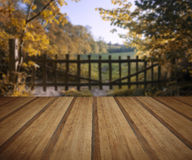 Lovely old gate into countryside field Autumn landscape with woo Royalty Free Stock Images