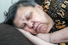 Lovely old woman sleeping Royalty Free Stock Image