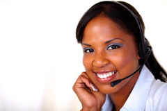 Lovely operator looking at you Stock Photo