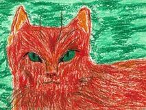 Lovely Orange Cat with Green Eyes. It is an hand drawn oil pastel painting Royalty Free Stock Image
