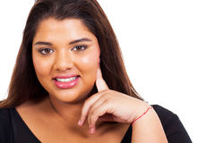 Lovely overweight woman. Closeup portrait on white Stock Photo