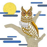 lovely owl coloring page Stock Photo