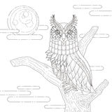 Lovely owl coloring page Stock Image