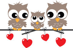 Lovely owl family sitting on a branch Stock Images