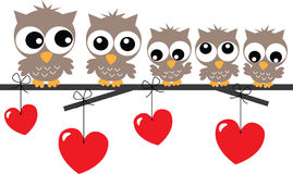 Lovely owl family sitting on a branch Royalty Free Stock Image