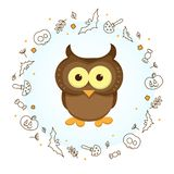 Depiction of an owl to Halloween. Lovely owl surrounded by a wreath. The wreath is made up of elements on the theme of Halloween executed in a linear style royalty free illustration