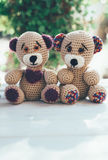 Lovely pair of teddy bears on a wooden table Stock Image