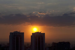 Cityscape during sunset. Lovely panoramic sunset in Ankara Stock Image