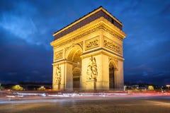Lovely Paris at Night. Arc de Triomphe at Night, Paris - Francen Stock Images