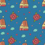 Lovely Pattern With Houses And Fowers. Lovely simple pattern with houses and flowers Stock Images