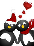 Lovely penguin. Illustration of two penguins with red hearts Stock Images