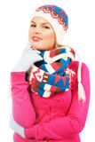Lovely pensive woman in winter clothing Stock Photography