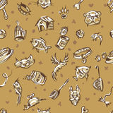Lovely pets. Seamless pattern consisting of goods associated with pets Stock Image