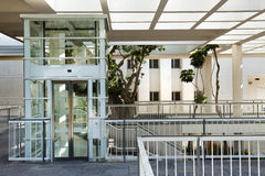 Patio Elevator. This lovely piece of architecture is located in one of the main cultural centers of israel: The national theatre - 'HaBima'; The concert hall Royalty Free Stock Photo