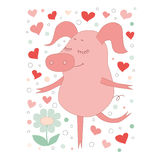 The lovely pig with a closing eyes stend on one leg. On a white background with hearts. Stock Photo