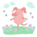The lovely pig with eyes closed stand on one leg. Cute cartoon pig sticker. Piglet with eyes closed stand on one leg. Cute cartoon pig sticker. Piggy on white Stock Images