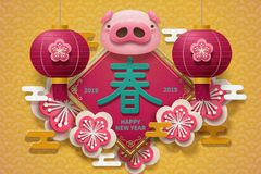 Lunar new year. Lovely piggy head new year poster with Spring words written in Chinese character