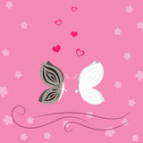Lovely pink card with butterflies and hearts Stock Photography