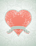 Lovely pink heart with grey ribbon Stock Photos