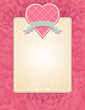 Lovely pink heart with grey ribbon. Illustration Stock Images