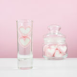 The lovely pink heart marshmallows in glass on for Valentine's day Royalty Free Stock Photos