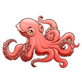 Lovely pink octopus contour line on white Royalty Free Stock Images