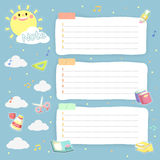 Lovely plan schedule memos set Royalty Free Stock Images
