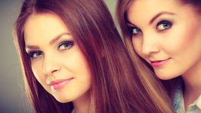 Lovely playful sisters women portrait. Royalty Free Stock Images