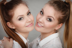 Lovely playful sisters women portrait. Stock Photo