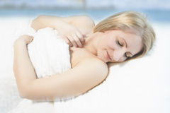 Lovely portrait of a sleeping blond woman Royalty Free Stock Images