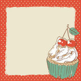 Lovely postcard with delicious sweet cupcake Stock Images