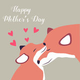 Lovely postcard with foxes for Mothers Day. Lovely postcard with two foxes for Mothers Day Royalty Free Stock Photography