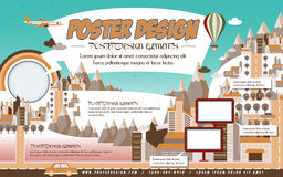 Lovely poster template design Royalty Free Stock Photos