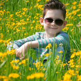 The lovely preschool child has a rest on a flower meadow. He sit. S on a grass in sunglasses and smile Royalty Free Stock Photo