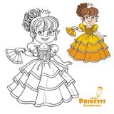 Lovely princess with fan in hand color and outlined Royalty Free Stock Images