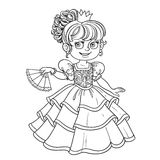 Lovely princess with fan in hand outlined picture for coloring book Royalty Free Stock Image