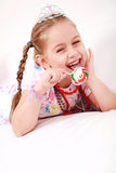 Lovely princess with lollipop Royalty Free Stock Photos