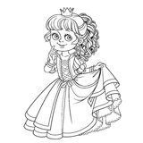 Lovely princess outlined picture for coloring book Royalty Free Stock Image