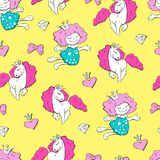 Lovely princesses and unicorns with hearts with wings and bows, seamless pattern. Vector illustration Stock Photos