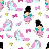 Lovely princesses and unicorns with hearts with wings and bows, seamless pattern. Vector illustration Stock Image