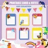 Lovely printable notes and card collection Royalty Free Stock Image