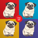 Lovely pug puppy. Cartoon character. Concept for Pets hotel or t-shirt print. Funny Pug art royalty free illustration