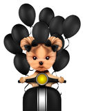 Lovely puppy sitting on motorbike with balloons. Isolated on white. Love and friendship concept. Realistic 3D illustration Stock Images