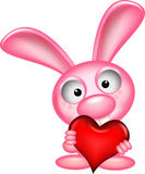 Lovely rabbit holds love heart Royalty Free Stock Images