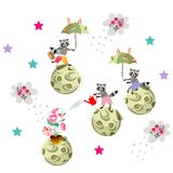 Lovely raccoons in space. Book illustration Stock Image