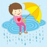 Lovely raining couple lover. Lovely raining season couple sweet lover Stock Photo
